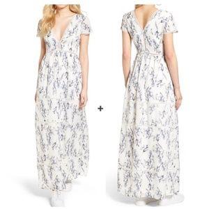 Make Offer Lucca Floral Tiered Deep V Maxi Dress